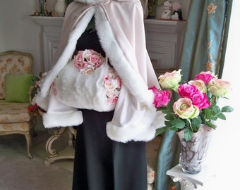 Bridal Cape 27 inch Champagne / Ivory Satin with Fur Trim Wedding Cloak Handmade in USA