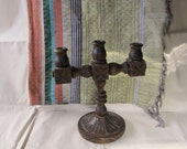 """Antique Mexican 11"""" Carved Wood Candelabra w/3 Candle Stations for Taper Candles ~ Mexican Hacienda Altar Shrine Candleholder ~Rustic Mexico"""