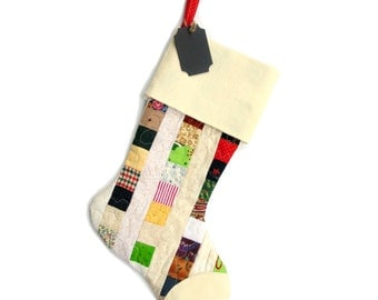 Christmas stocking, patchwork quilted handmade holiday stocking, family stocking, personalized chalkboard tag, cotton linen