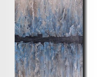 Large Abstract painting - 24 X 48- Art-by Artist JMJartstudio - For now  -Wall art-wall decor- Blue painting-Oil painting-XXL-gray custom