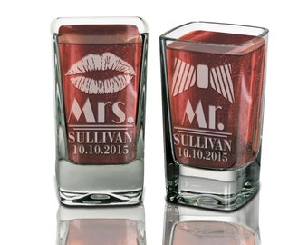 Set of 2 Mr and Mrs Personalized Wedding Shot Glasses Engraved Custom Weddding Gift Idea Newlyweds Just Married Couple Engagement Bridal
