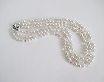 Necklace Triple Strand Faux Pearls Crystals Wedding Bridal