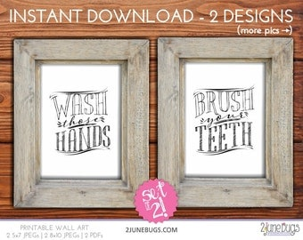 Printable Bathroom Wall Art Wash Those Hands Wall Art Brush Your Teeth Wall Art