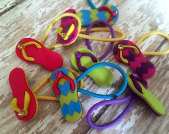 Button Hair Ties - Button Hair Clips - Ponytail Holders - Flip Flops - Pick your Colors & Quantity