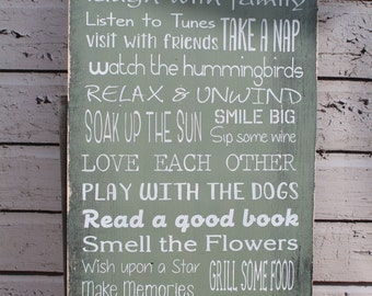 Cottage rules sign Customized for you Primitive, Typography  subway sign cute cottage decor aged and weathered