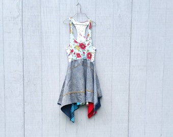 upcycled boho lagenlook romantic dress / Upcycled clothing / Patchwork Dress / Funky Tunic Dress / Eco / Artsy by CreoleSha