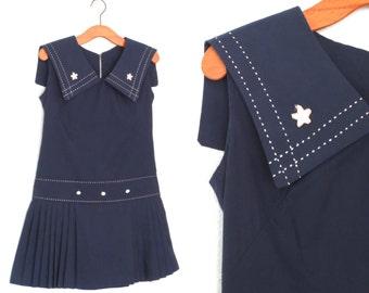 Vintage Sailor Dress * 60s Dress * 1960s Nautical Mini Dress * Medium