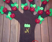 Felt Time Tree Calendar or Organizer - Felt Tree Wall Hanging -  Apple Tree Kids Event Planer - Kids Wall Fun Planer - Kids Woodland Tree