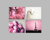 Sale - Baby Girl Nursery Decor, Pink Black Wall Art- Photography Set of 4 Prints- Child's Room-  11x14 Prints- Save 50%