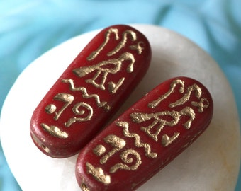 Czech Glass Beads - Jewelry Making Supplies - Egyptian Cartouche With Gold Inlay Hieroglyphics (4 beads)  25x10mm Opaque Red
