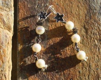 Handmade Long Dangle Pearl  Earrings, Boho Flower Earrings, Wedding Bling Pearl Earrings, Handcrafted Artisan Sterling Silver Earrings