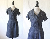 c1940's AS IS Black Woven Dress M - See Condition