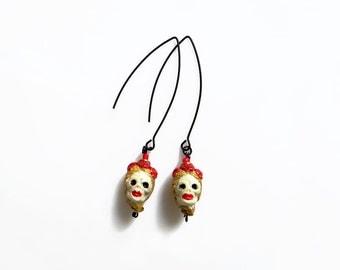 Sugar Skull Earrings, Dia De Los Muertos Earrings, Frida Kahlo Jewelry