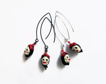 Skull Earrings, Frida Kahlo Earrings, Boho Dangle Earrings, Day of the Dead Jewelry, Ethnic Mexican Folk Jewelry