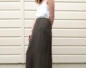 Vintage Minimalist 1990's Olive Green Column Midi High Waisted Maxi Skirt S