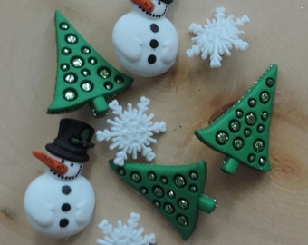 """Winter Buttons, Christmas Trees, Snowmen and Snowflake Buttons, """"Christmas Past"""" Novelty Button Package by Dress It Up Jesse James"""