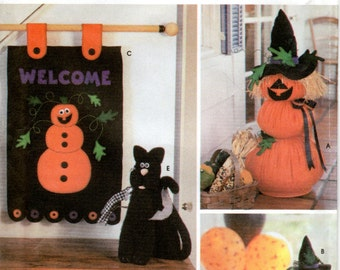 OOP Halloween Decorations Pattern - Simplicity 9921 - Pumpkin Flag Cat UNCUT FF