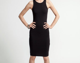 Black Dress / Racer Front and Back Dress / Designer Dress / Fitted Dress / Tight Dress / Party Dress / marcellamoda - MD081