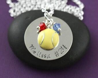 SALE - Softball Necklace -Softball Jewelry -Softball Team Necklace -Sport Team Gift -Personalize Team Name -Custom Team Number -Tennis Charm