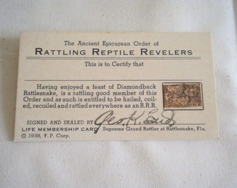Vintage 1930s Membership Card Rattling Reptile Revelers Epicurean Order George End Florida Diamondback Rattlesnake Skin
