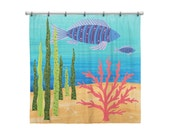 Shower Curtain for Kids Bathroom from Hand Painted Images - Under the Sea Ocean Theme Blue and Purple Fish - Children's Bath Decor
