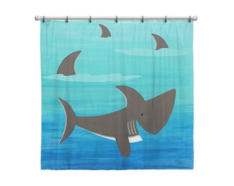 Shower Curtain for Kids Bathroom from Hand Painted Images - Under the Sea Ocean Theme Friendly Shark - Children's Bath Decor