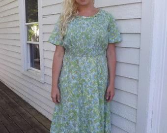 Floral Print Dress Green Blue Plus XL XXL Vintage 50s 1950s 46 Bust