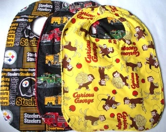 Curious George, Fire Trucks or Pittsburgh Steelers Toddler Bib,Clothing Protector, Large Baby Bib,Reversible Terry Cloth Bib,Your Choice