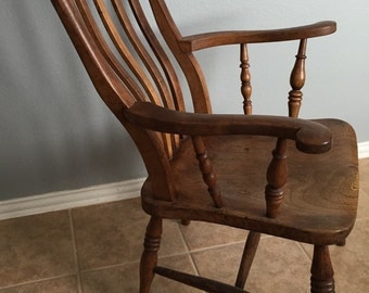 Antique Primitive English Slat Back Curved Wooden Dining Arm Chair.  Accent Chair.