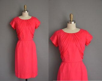 vintage 1950s dress / pink chiffon wiggle dress / 50s dress