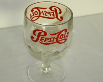 Pepsi1 Thumbprint Goblet Vintage 1960s Pepsi-Cola Clear Glass Logo Heavy Duty Red Logo Advertising Vintage Glasses COOL single