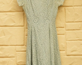 Vintage 40s-50s Blue Cotton Lace Dress By Alfred Werber Of Saint Louis/Retro/Mid Century