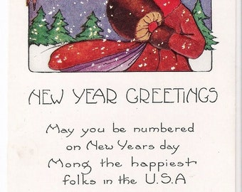 Whitney Made - New Year Greetings - Antique Postcard - New Year, Happy New Year, Winter, Snow, Children, Boys, Ephemera, Paper
