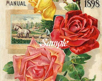 Victorian Frotscher Seeds Garden Manual 1898 Reproduction  Downloadable, Printable, Digital Art Image Instant Download