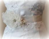 Ivory Sash, Beaded Flower Wedding Belt, Rhinestone and Pearl Bridal Sash, Silk Organza Flowers - BIANCA