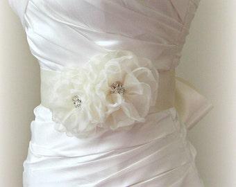 Soft Ivory Bridal Sash, Flower Sash with Crystals, White, Off White Diamond White, Champagne Wedding Belt, Custom Colors - CADDIE