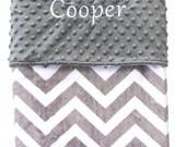 Personalized Minky Baby Blanket or Lovey - Grey Chevron, Gender Neutral, Shower Gift, Custom Made, Throw Blanket, Nursery Bedding