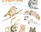 2016 Calendar - Woodland Animal 4 x 6 Desk Calendar - 12 Month - Watercolor Paintings
