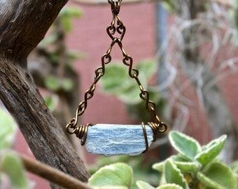 Natural Kyanite Necklace - Raw Stone Jewelry - Rough Kyanite Jewelry - Wire Wrapped Stone Necklace - Gypsy Boho Jewelry - Bohemian Necklace