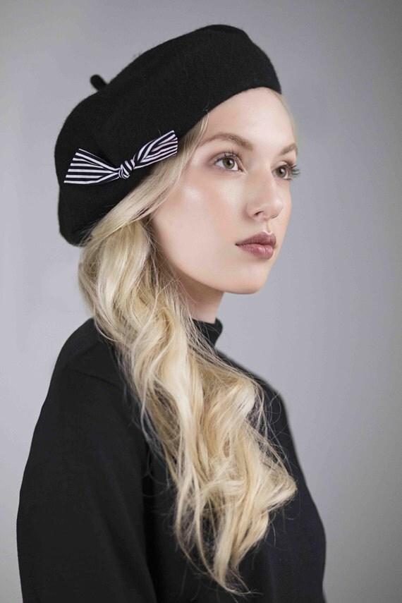 Wool Beret with Stripe Bow, Parisienne Style, Beatnik Fashion, Warm Winter Hat - Jones