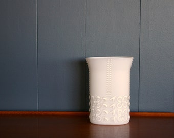 Olle Alberius for Orrefors of Sweden White Cased Glass Vase with Floral Motif