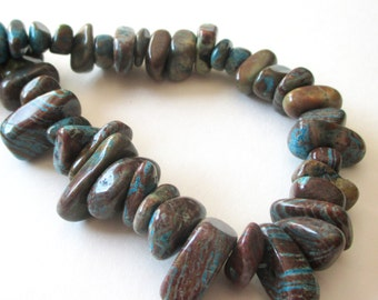 """Crazy Lace Beads - Blue Brown Crazy Lace Agate - Chunky Nugget - Smooth Freeform Irregular Beads - Top Drilled Briolette - 16"""" - DIY Jewelry"""