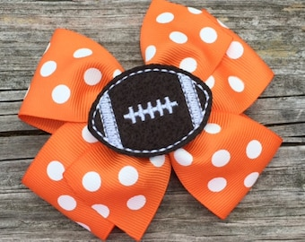 Orange and White Football Hair Bow, Football Hair Bow, Toddler Hair Bows, Tennessee Vols Hair Bow, Girls Hair Bows, Tennessee Football Bow