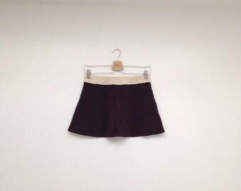 Vintage 1990s Brown and Tan Club Kid Stretch Ultra Mini Skirt