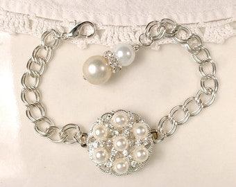Ivory Pearl & Clear Rhinestone Silver Flower Girl Bracelet, Junior Bridesmaid Wedding Gift, Bridesmaid Jewelry Vintage Modern Rustic Country
