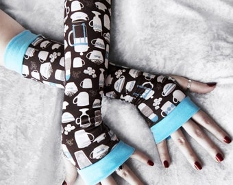 Caffinated Arm Warmers | Brown Cream White Pale Blue Coffee Latte Mocha Print | Yoga Gloves Unisex Hipster Geek Gift Bohemian Gothic Cycling