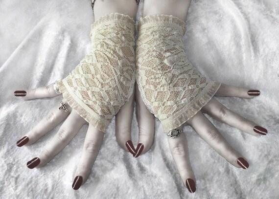 Spirit Softly Lace Fingerless Gloves - Ivory Diamond Lattice Roses & Fishnet - Gothic Victorian Regency Tribal Belly Dance Wedding Austen