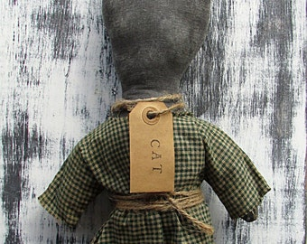 Primitive Cat Sitter, Cat Pillow, Green and White, Green Checked, Black Cat, Green Gingham, Cat Doll, Shelf Sitter, Country Cat, Grunge