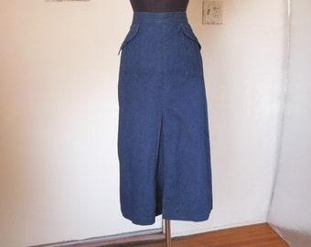 LAST CHANCE SALE...Vintage 80's Denim Skirt, Midi Skirt, 40's Style, Dark Blue, by Jag, Women's Medium, Waist 28, Hip 37
