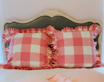 P Kaufmann Large Buffalo Check Euro Sham with Pleated Ruffle or Gathered Ruffle Available in Several Colors